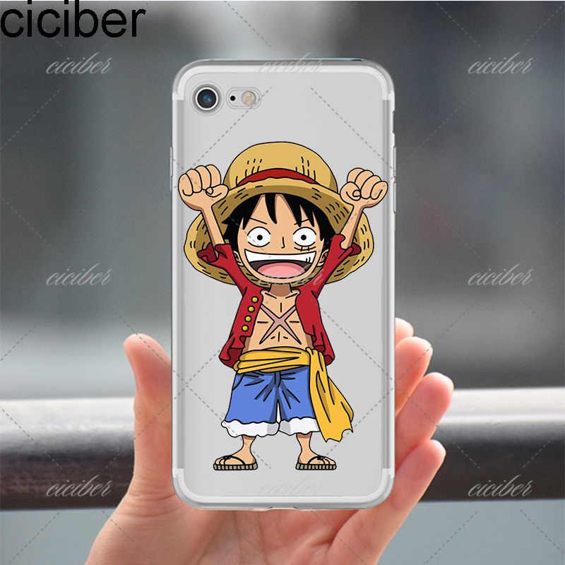 Ciciber One Piece Monkey D. луффи Зоро Дизайн clear мягкий силиконовый TPU чехол для iPhone 6 6 S 7 8 плюс 5S SE x капа Fundas