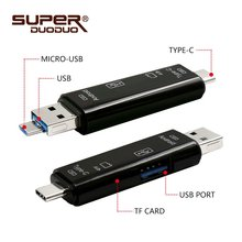 USB 3.0 3 in 1 Type-C Card Reader Micro USB Flash Drive Adapter Connector High Speed TF Memory Card Reader with retail package(China)