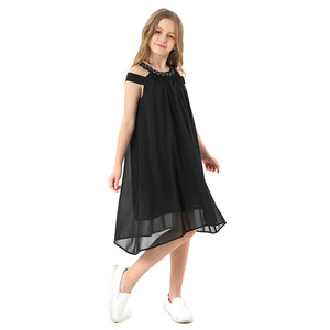 Image 3 - Toddler Girl Dresses Summer Black Chiffon Slip Dress Children Beach Wear Casual Girls Party Dress Kids Clothes 8 10 12 14 Years