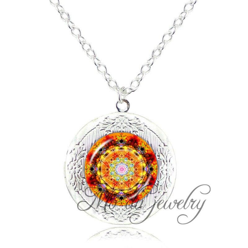 Indiano colar om mandala flor medalhão pingente de prata banhado yoga hindu  henna colar de vidro dome colar declaração de mulheres 87ac08466065