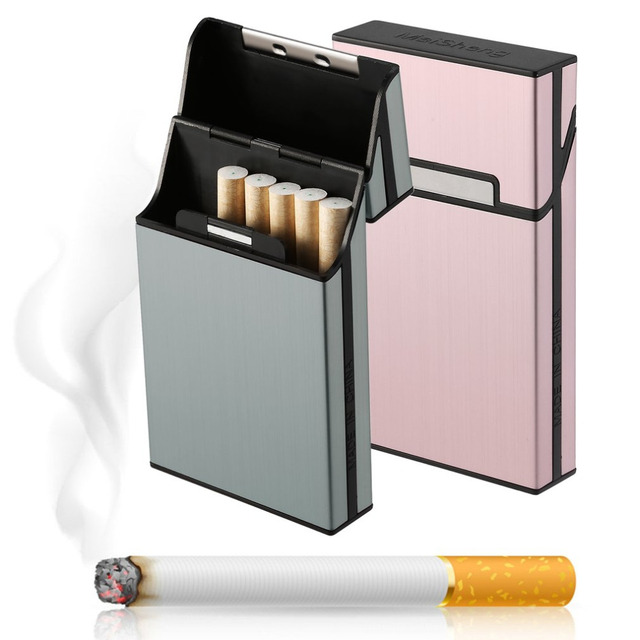 6 colors Light Aluminum Cigar Cigarette Case Tobacco Holder Pocket Box Storage Container Smoking  Dropshipping