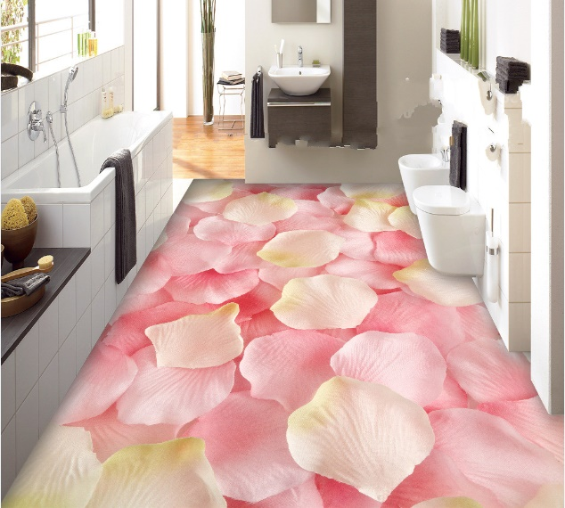 [Self Adhesive] 3D Pink Roses Petals 4 Non slip Waterproof Photo Self Adhesive Floor Mural Sticker WallPaper Murals Print Decal