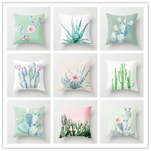 Cactus Plant Printed Cushion Cover 2019 New Style Cotton Linen Pillow Case Decoration Home Office Throw Kussenhoes