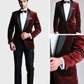 Nova Smoking Do Noivo Smoking Terno Do Casamento Dos Homens Ternos De Grife Para Homens Slim Fit Ternos De Veludo Azul Marinho de Volta Vermelho (jacket + pants + tie)