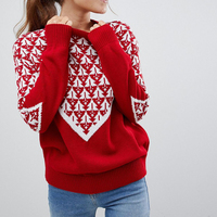 2018 Winter Christmas Sweater Jumper Women Christmas Tree Red Knitted Sweater O Neck Thick Loose Women Sweaters and Pullovers