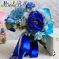 2016 Пляж Стиль Белый Голубой Розы Свадебный Букет Дешевые Artificia Невесты Букет Де Noiva Свадебные с Цветами в Руках