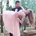 Curto vestidos de baile 2017 rosa mangas compridas evening dress especial ocasião vestidos princesa apliques prom dress vestido de festa