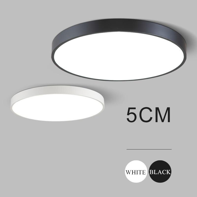 Ultra-thin 5cm wrought iron ceiling lamps black/white modern led ceiling lights for living room lustre luminaria home lighting