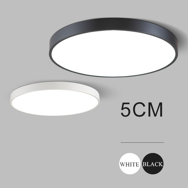 Ultra Thin 5cm Wrought Iron Ceiling Lamps Black/white Modern Led Ceiling  Lights For