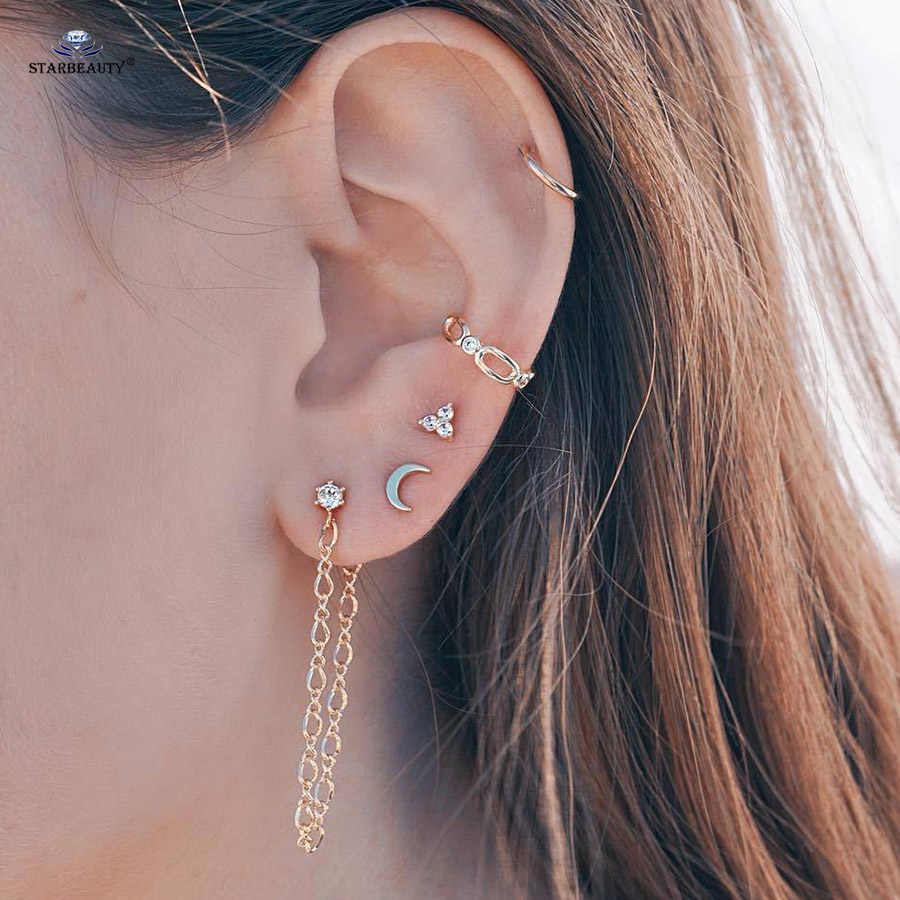 5 pcs/lot Moon Ear Piercing Tassel Earring Set Helix Piercing Nose Ring Gold Color Fake Earrings Fake Piercing Ear Body Jewelry