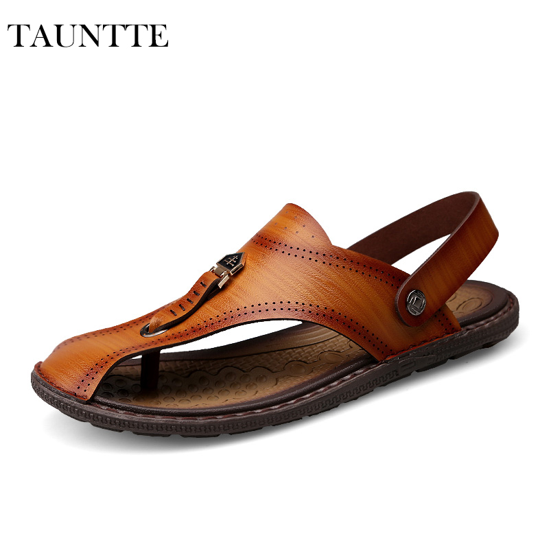 Tauntte Summer Microfiber Leather Sandals Men Korean Breathable Beach Shoes Fashion Slides For Male For Free