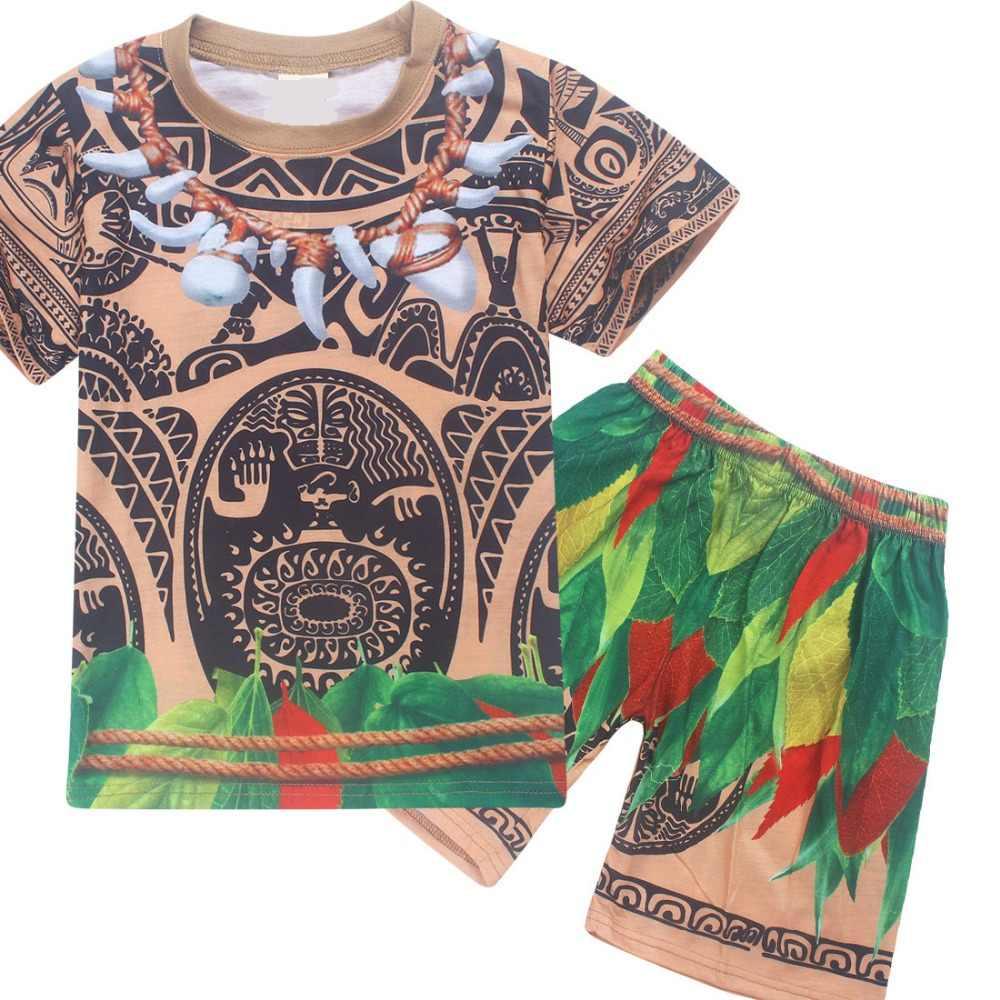 Фото Мауи Моана модный клевый костюм От 3 до 10 лет Детская летняя футболка на Хэллоуин