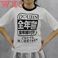 Mujeres Tops Harajuku japonesa Fresca Camisa de Verano Impresión de Las Letras Tops Tee Suelta de Manga Corta Camiseta Unisex WXC