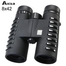 8x42 Waterproof Binoculars Asika Binoculars Telescope Bak4 Prism Optics Camping Hiking Binoculars Twist-up Eyecups Neck Strap