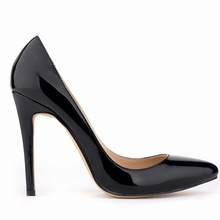 Office Lady   Fanshion Sexy Pumps Plain Dress Patent Leather Slip- On Pointed Toe Shallow Mouth Basic High Thin Heel Pumps