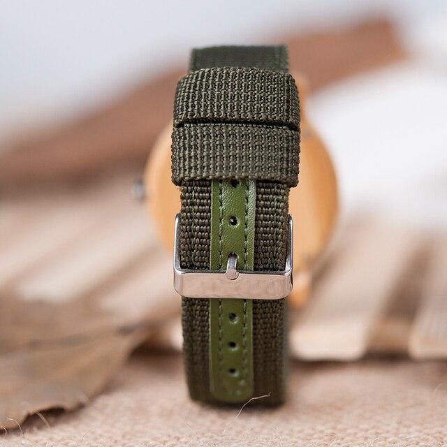 BOBO BIRD D11 bambou bois montres pour femmes hommes marque Design vert Nylon sangles montre livraison directe dans la boîte 5