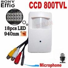 800TVL mini camera 940nm Night Vision Sony CCD Security Indoor CCTV Mini PIR Style Camera pir mini camera pir Security Cam IR