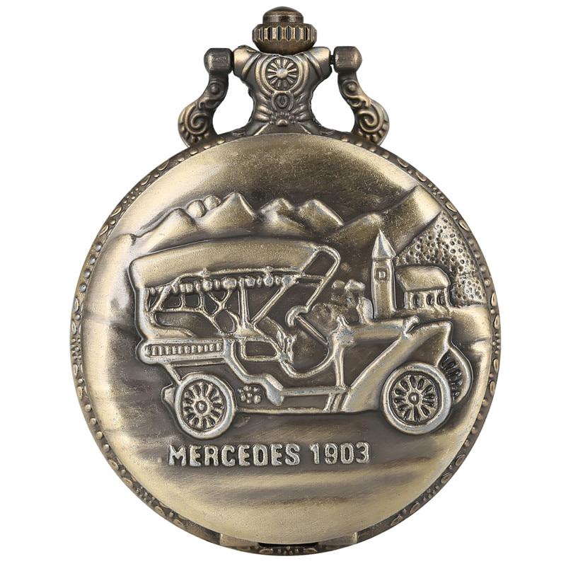 Unique Steam Sedan Pattern Pocket Watch For Men Mercedes 1903 Retro Elegant Thick Chain Watch With Necklace 30cm Keychain Gift