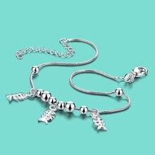 925 tobilleras de plata de ley para la mujer creativa Fishbone colgante cadena de pie de plata Maciza 28 cm lady popular joyería del cuerpo mejor regalo