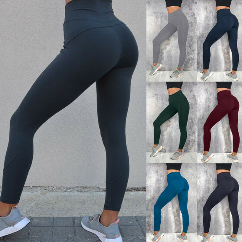 Women Sport Pants High Waist Yoga Fitness Leggings Running Gym Scrunch Trousers Hip Push Up Workout Stretch Sexy Pants image