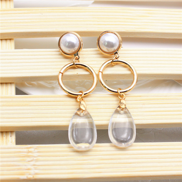Transparent water drop long earrings 3