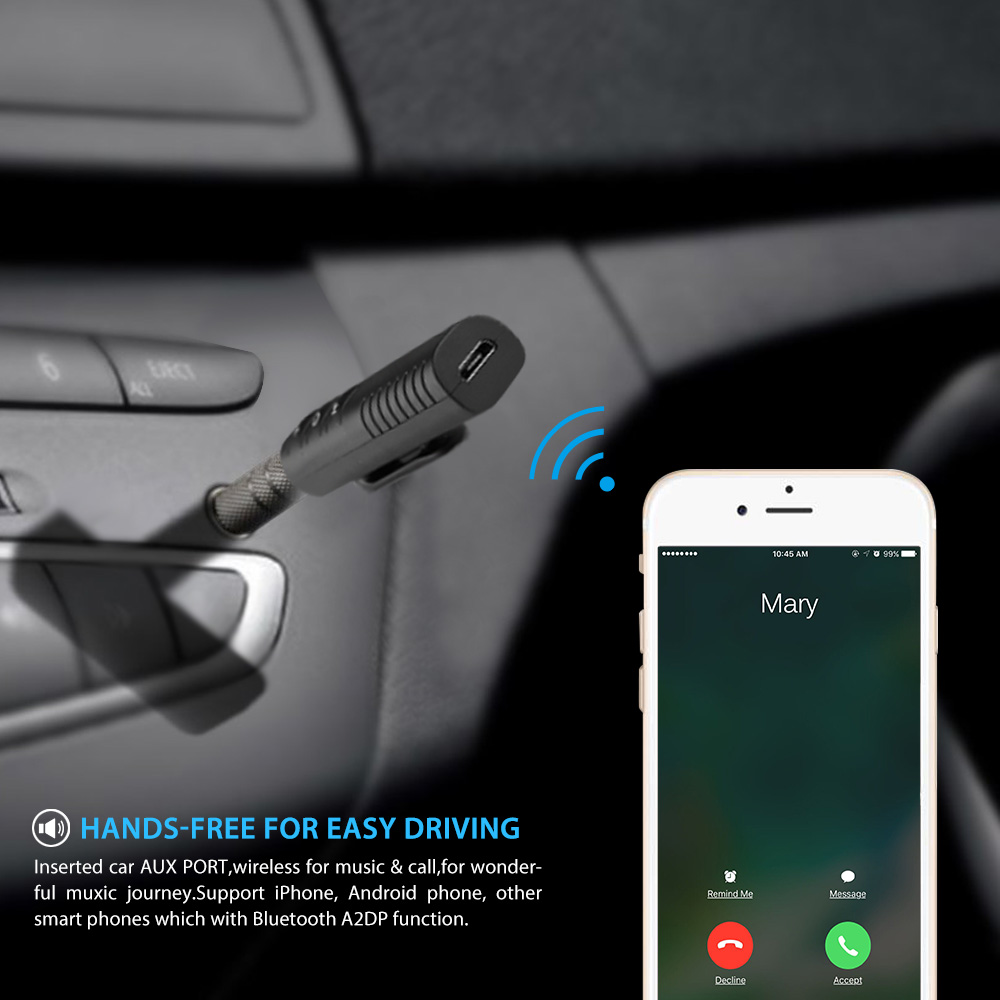 3.5 mm Bluetooth Hands-Free Car Kit for Cars with Aux Input Jack