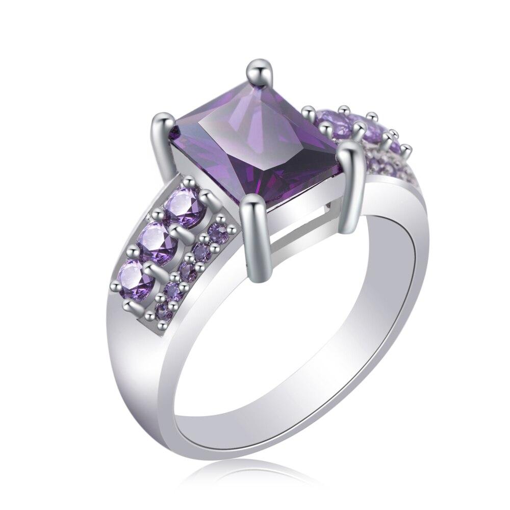 Оптовая продажа (36 шт./лот) горячий камень cz руководство более ювелирные изделия кольца CZ приятно фиолетовый кольцо