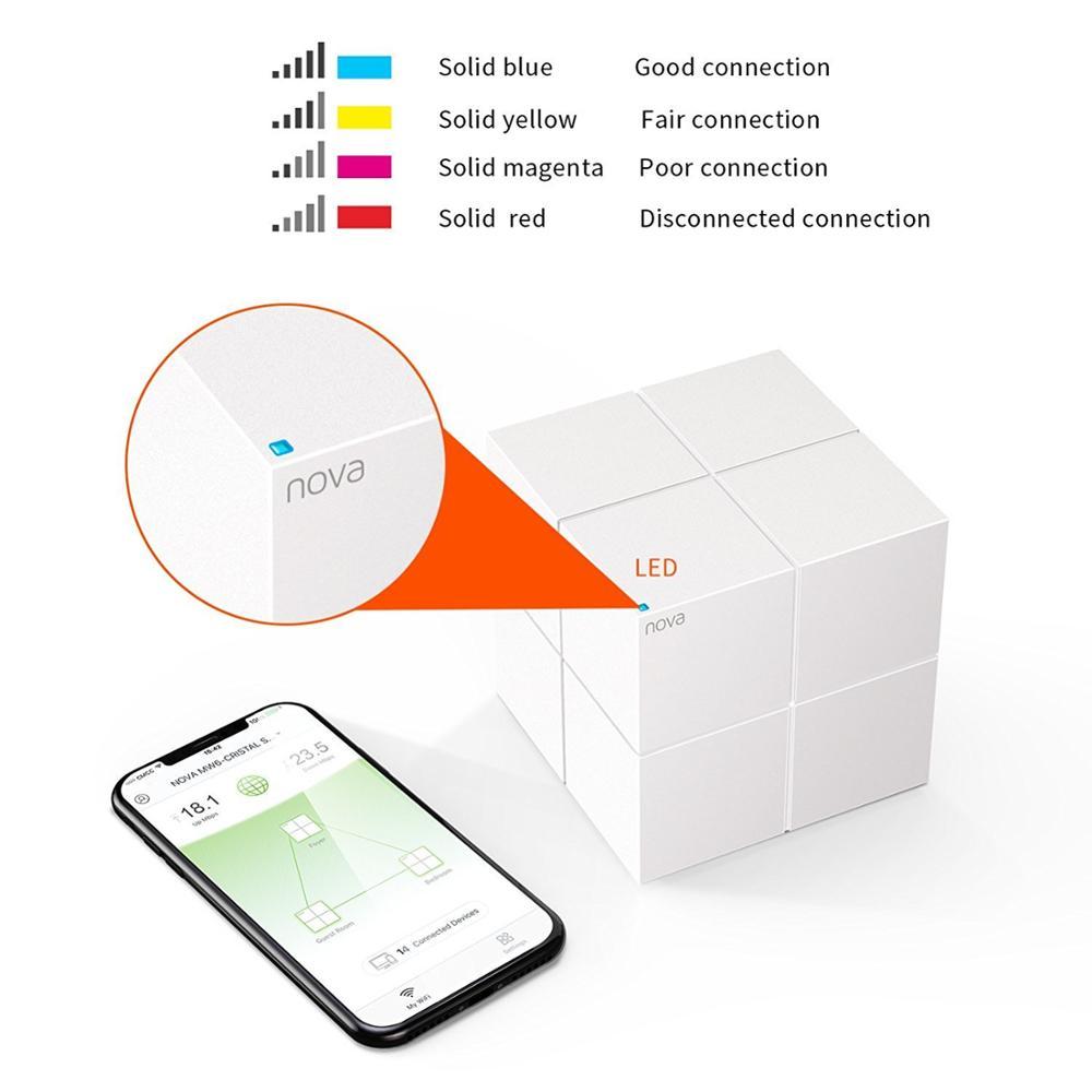 Tenda tout le système de WiFi de maille de maison double bande Gigabit AC1200 remplacement de routeur sans fil pour 6000sq. ft SmartHome APP à distance gérer - 3