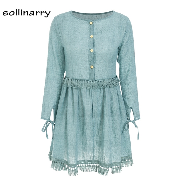 Sollinarry Tassel Autumn Winter Cotton And Linen Casual Dress Retro Solid Blue Button On Shift Cuff Women Dresses Vestidos