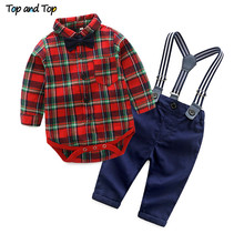 Top and Top Spring Cotton Gentleman Baby Boys Clothes Clothing Sets Plaid Long Sleeve Biw tie Shirt Rompers Suspenders Pants