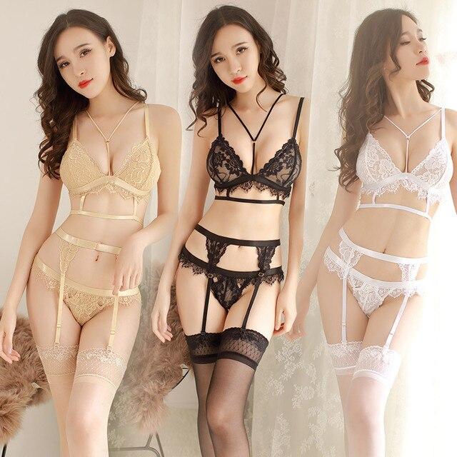 152ce121811 Sexy sujetador + Liga cinturón + Tanga Lencería Sexy ropa interior Sexy  para mujeres Sexy Sujetador