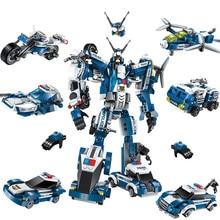 577 pz Legoings 6 In 1 Polizia Guerra Generali Robot Building Blocks Auto Kit Giocattoli Per Bambini di Compleanno Regali Di Natale