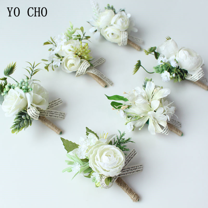 YO CHO White Bride Hand Wrist Flower Wedding Bouquet Handmade Silk Flores Boutonniere Corsages Pin For Bridesmaids Decor Flowers