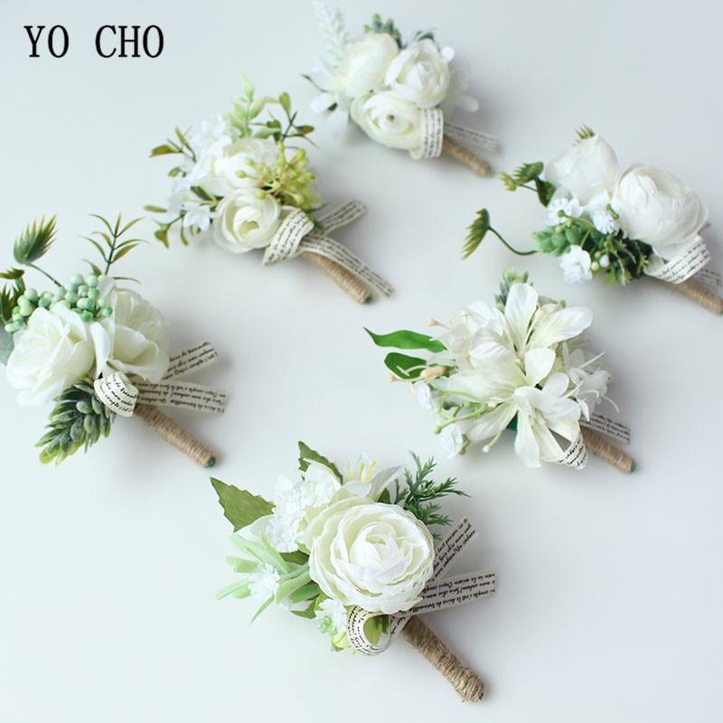YO CHO White Bride Hand Wrist Flower Wedding Bouquet Handmade Silk Flores Boutonniere Corsages Pin For Bridesmaids Decor Flowers