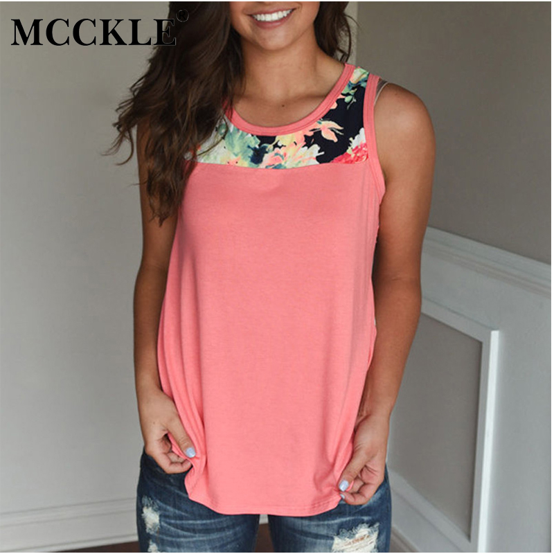 MCCKLE 2018 Summer Sleeveless Floral Print Women T-Shirts O-Neck Patchwork Casual Loose Tshirts Plus Size Womens Clothes Tops