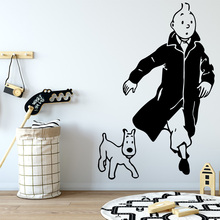 The Adventures Of Tintin Wall Sticker Removable Wall Stickers Diy Wallpaper Decorative Vinyl House Decoration Wallpaper LW86 1x the adventures of tintin figure set destination moon new