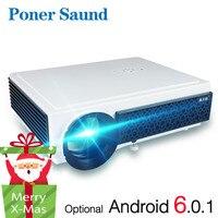 Poner Saund LED 96+ Проектор 3D Домашний кинотеатр Дополнительный Android 6.0 WIFI 100 дюймовый экран ПОДАРОК Full HD 1080P HDMI видео Proyector
