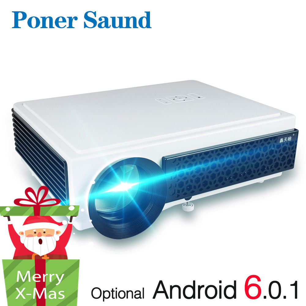 Poner Saund LED96 + Projector 3D Home Theater Optioneel Android 6.0 WIFI 100 inch scherm GIFT Full HD 1080 p HDMI Video Proyector