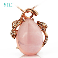 Natural Rose Quarts Silver Pendant Pears 13mm 18mm Clean Quality And Lovely Pink Color Best Gift