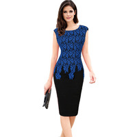 Vfemage Womens Summer 2017 Elegant Ruched Slim Tunic Casual Party Evening Special Occasion Sheath Pencil Patchwork