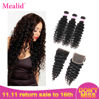 Mealid Brazilian Hair Weave Bundles Deep Weave Bundles With Closure Remy Human Hair 3 Bundles With Closure Deep Wave