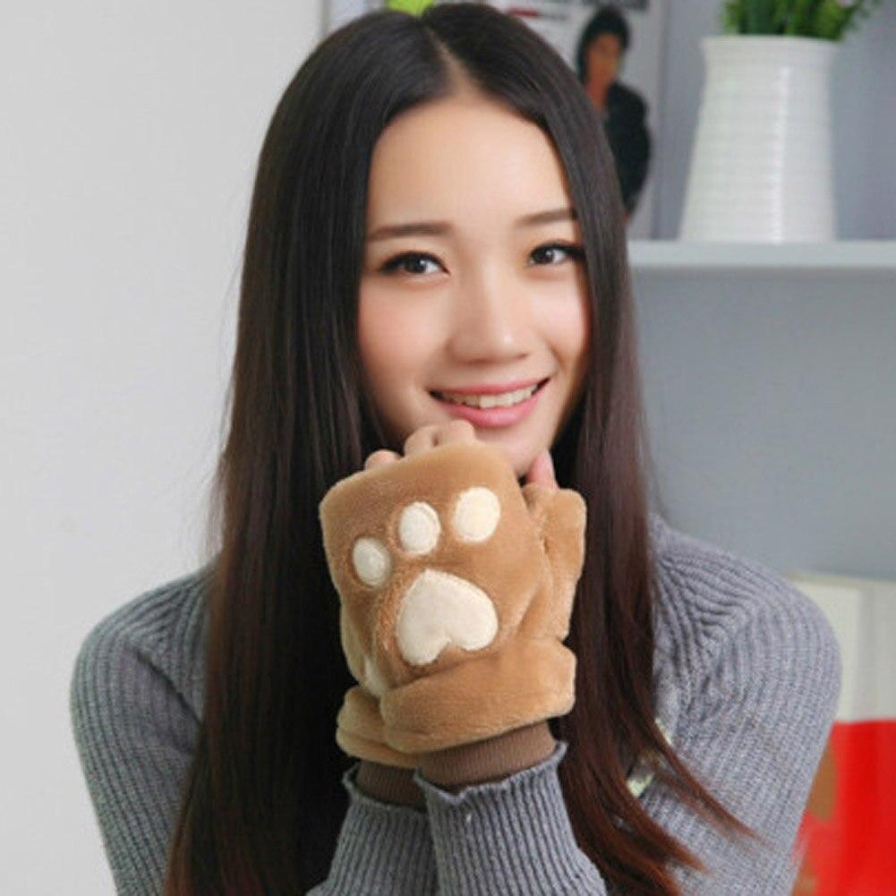 Ladies Winter Half Finger Gloves Fluffy Cat Plush Paw Claw Soft Women Gloves Mitten