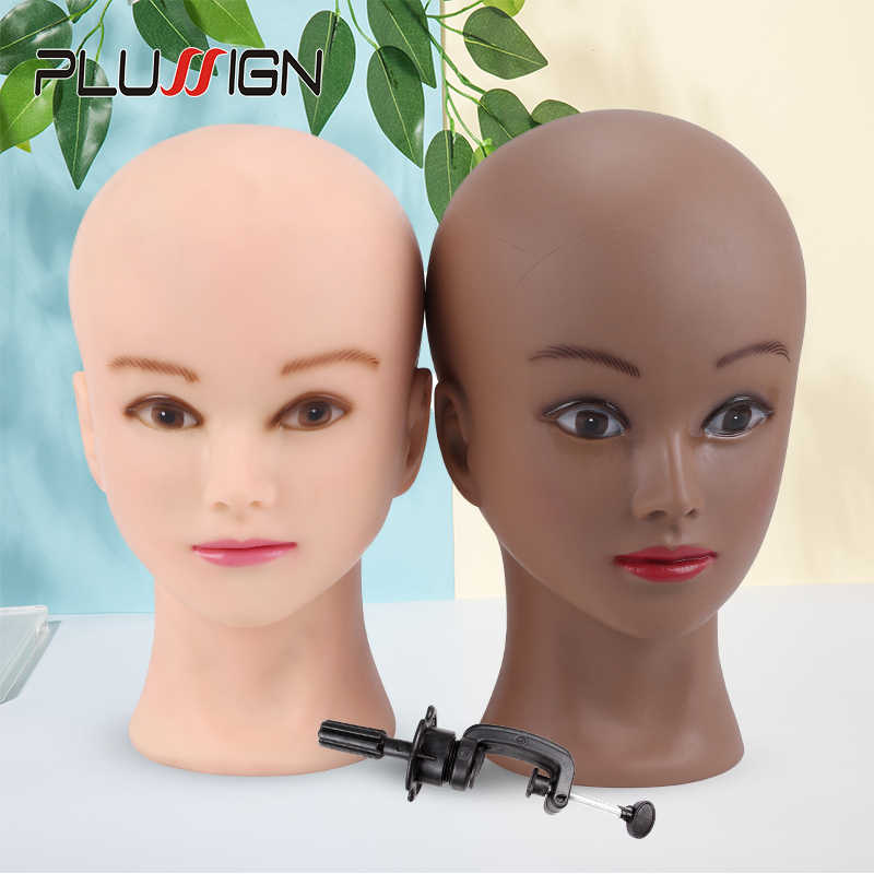 "Bald Mannequin Head Beige Female Professional Cosmetology For Wig Making Dummy Head 20.5"" Wig Making Heads Black Women Skin"