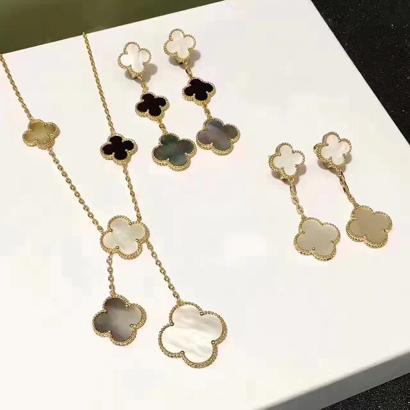 Brand Wedding 925 Silver Jewelry Set For Women Gold Color Necklace White Mother Shell Pearl lover Leaf Necklace Earrings Set a suit of chic faux pearl rhinestone leaf necklace and earrings for women