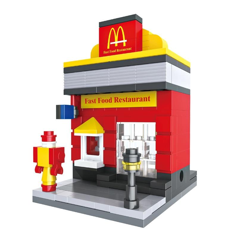City Mini Street Building Blocks Retail Store Shop 3D Model McDonald Cafe Apple Architecture Classic Toy Compatible Legoedly new