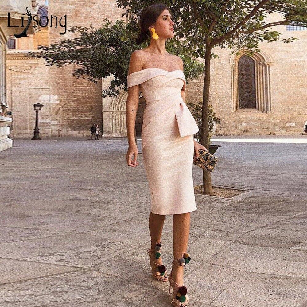 2018 Simple Beige Straight Tea Length Prom Dresses Sweetheart Off ...