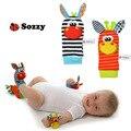 Cinta Meias Infantil Bonito Do Bebê SOZZY Chocalhos de Brinquedo Do Bebê Pulso Chocalhos Macios Handbells Pulso Stripe Meias anel com Anel de Pé