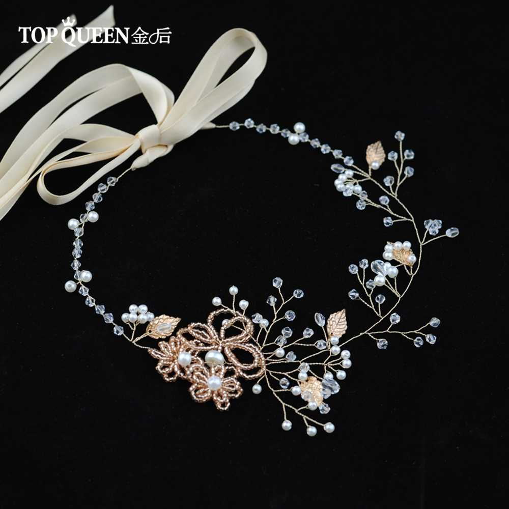 TOPQUEEN SH73 cintura con strass in oro Rosa cintura per abiti da sposa Da Sposa Del Rhinestone della perla della cinghia da sposa