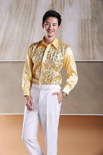 Бесплатная доставка! Хорошо 8 тонах мужская новый 2015 вечернее платье блестка рубашка сценические костюм модератор