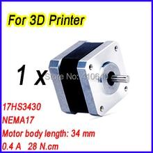 3D Printer Nema17 Stepper Motor 17HS343017HS13-0404S L34 mm 1.8 deg 0.4 A 28 N.cm 4 Wire Used for 3D Printer FREE SHIPPING